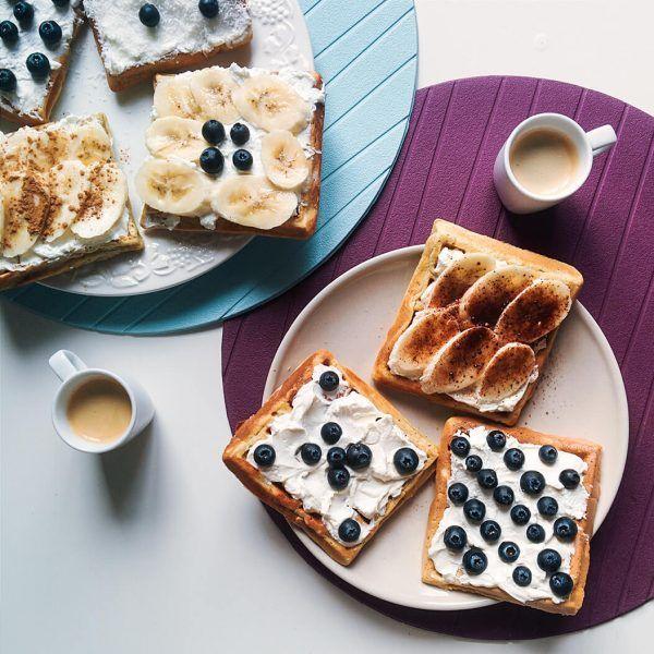 foodiesfeed.com homemade waffles with coffee