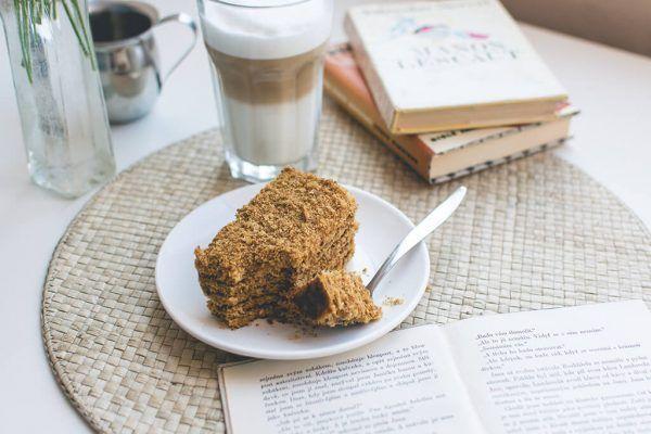 foodiesfeed.com traditional czech honey cake caffee latte